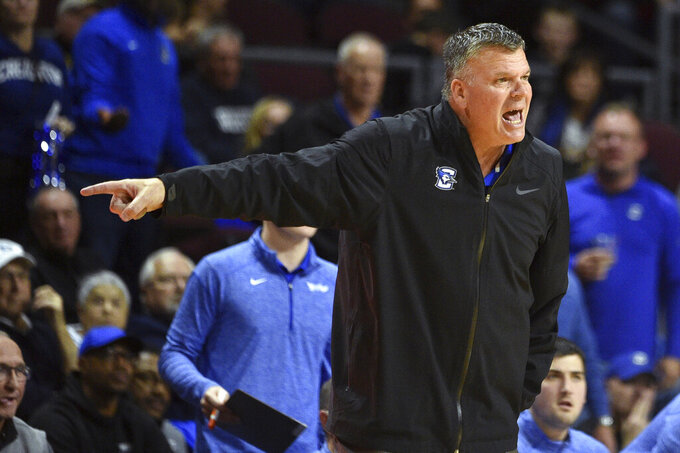 Creighton coach Greg McDermott calls to his team during the second half of an NCAA college basketball game against Texas Tech on Friday, Nov. 29, 2019, in Las Vegas. (AP Photo/David Becker)