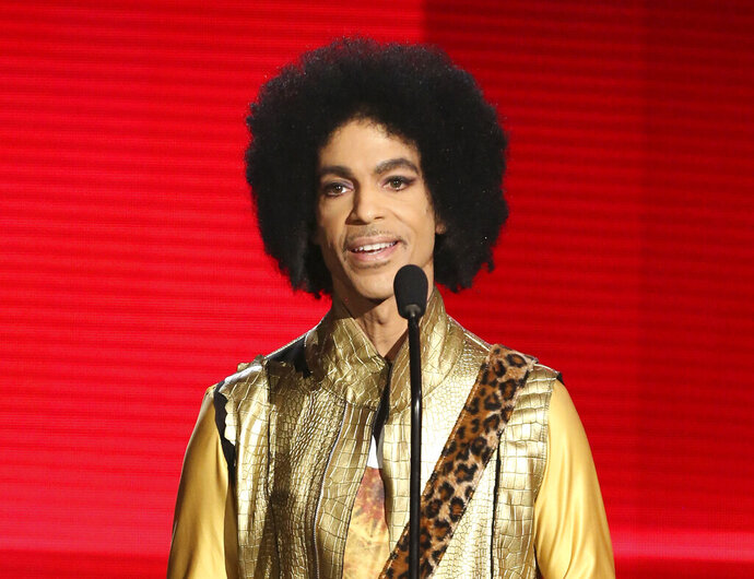 FILE - In this Nov. 22, 2015, file photo, Prince presents the award for favorite album - Soul/R&B at the American Music Awards in Los Angeles. The memoir Prince was working on at the time of his death,