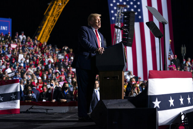 President Donald Trump speaks at a campaign rally, Friday, Sept. 25, 2020, in Newport News, Va. (AP Photo/Evan Vucci)