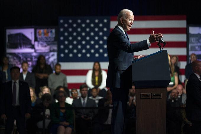 President Joe Biden speaks as he commemorates the 100th anniversary of the Tulsa race massacre, at the Greenwood Cultural Center, Tuesday, June 1, 2021, in Tulsa, Okla. (AP Photo/Evan Vucci)