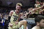 Purdue center Matt Haarms (32) celebrates following an NCAA college basketball game against Michigan State in West Lafayette, Ind., Sunday, Jan. 27, 2019. (AP Photo/Michael Conroy)