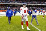 New York Giants quarterback Daniel Jones (8) walks off the field following an NFL football game against the Chicago Bears in Chicago, Sunday, Nov. 24, 2019. (AP Photo/Paul Sancya)