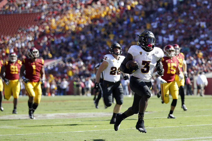 Arizona State running back Eno Benjamin (3) runs for a touchdown against Southern California during the first half of an NCAA college football game Saturday, Oct. 27, 2018, in Los Angeles. (AP Photo/Marcio Jose Sanchez)