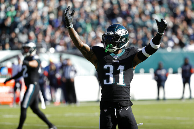 Philadelphia Eagles' Jalen Mills reacts to a play during the first half of an NFL football game against the Chicago Bears, Sunday, Nov. 3, 2019, in Philadelphia. (AP Photo/Chris Szagola)