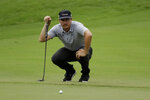 Joel Dahmen lines up a putt on the 18th hole during the third round of the World Golf Championship-FedEx St. Jude Invitational Saturday, Aug. 1, 2020, in Memphis, Tenn. (AP Photo/Mark Humphrey)