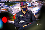 Red Bull driver Max Verstappen of the Netherlands attends the press conference at the Sochi Autodrom circuit, in Sochi, Russia, Thursday, Sept. 23, 2021. The Russian Formula One Grand Prix will be held on Sunday. (Xavi Bonilla/DPPI, Pool via AP)