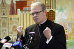 Albany, N.Y., Bishop Edward Scharfenberger addresses the media, Wednesday, Dec. 4, 2019, in Buffalo N.Y., after being appointed by the Vatican to serve as Apostolic Administrator for the Buffalo Diocese until a replacement Bishop is chosen. (AP Photo/Jeffrey T. Barnes)