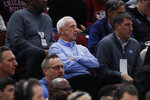 North Carolina head coach Roy Williams watches during the second half of an NBA basketball game between the Chicago Bulls and the New York Knicks Tuesday, Nov. 12, 2019, in Chicago. The Bulls won 120-102. (AP Photo/Charles Rex Arbogast)