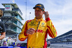 Ryan Hunter-Reay prepares to drive during practice for the Indianapolis 500 auto race at Indianapolis Motor Speedway in Indianapolis, Friday, May 21, 2021. (AP Photo/Michael Conroy)