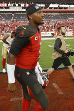Tampa Bay Buccaneers quarterback Jameis Winston walks off the field after the second half an NFL football game against the San Francisco 49ers, Sunday, Sept. 8, 2019, in Tampa, Fla. The San Francisco 49ers won 31-17. (AP Photo/Chris O'Meara)