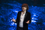 Young Dutch inventor Boyan Slat presents his plans for the Interceptor, a plastic-gathering floating device, during a presentation in Rotterdam, Netherlands, Saturday, Oct. 26, 2019. Slat is taking his effort to clean up floating plastic from the Pacific Ocean to rivers to catch garbage before it reaches the seas. (AP Photo/Peter Dejong)