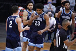Villanova forward Jermaine Samuels (23) reacts after scoring a basket during the second half of an NCAA college basketball game against Seton Hall, Saturday, Jan. 30, 2021, in Newark, N.J. (AP Photo/Mary Altaffer)