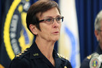Honolulu Police Chief Susan Ballard speaks at a news conference after announcing the death of two police officers responding to a call near Diamond Head, Sunday, Jan. 19, 2020, in Honolulu. (AP Photo/Marco Garcia)