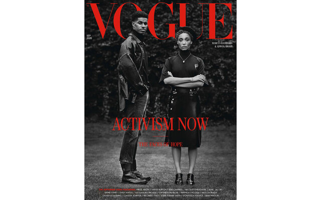 In this image made available Thursday Aug. 6, 2020, by British Vogue magazine, showing the September 2020 issue devoted to activism, with a cover featuring two Black activists and produced by a predominantly Black team. The influential magazine's cover features 22-year-old Manchester United soccer player Marcus Rashford, who successfully campaigned during coronavirus lockdown to force Britain's government to grant free food vouchers to poor families, alongside model and mental health, racial justice and sustainability activist Adwoa Aboah, who has said