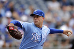 Kansas City Royals starting pitcher Danny Duffy throws during the first inning of a baseball game against the Baltimore Orioles Sunday, Sept. 1, 2019, in Kansas City, Mo. (AP Photo/Charlie Riedel)