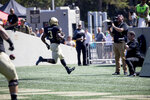 Army running back Sandon McCoy (3) scores a touchdown during the first half of an NCAA college football game against Morgan State, Saturday, Sept. 21, 2019 in West Point, N.Y. (AP Photo/Julius Constantine Motal)