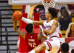 Indiana forward Trayce Jackson-Davis (23) blocks a shot by Rutgers guard Jacob Young (42) during the second half of an NCAA college basketball game, Sunday, Jan. 24, 2021, in Bloomington, Ind. (AP Photo/Doug McSchooler)