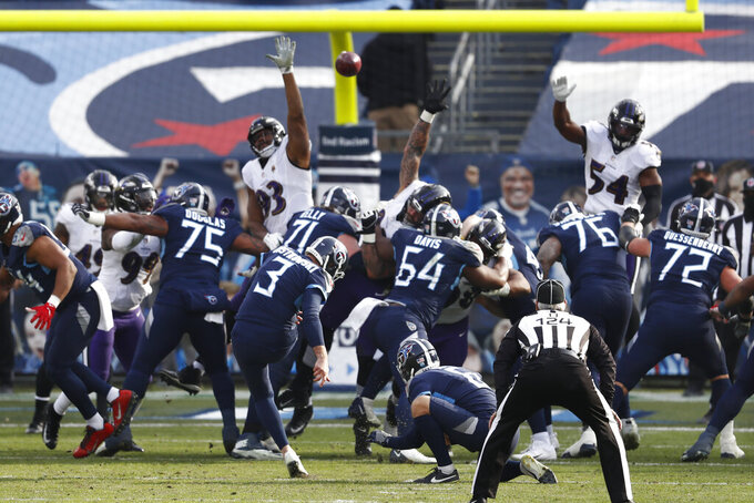 Tennessee Titans kicker Stephen Gostkowski (3) kicks a 25-yard field goal against the Baltimore Ravens in the second half of an NFL wild-card playoff football game Sunday, Jan. 10, 2021, in Nashville, Tenn. (AP Photo/Wade Payne)