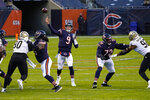 Chicago Bears quarterback Nick Foles (9) throws for a touchdown against the New Orleans Saints in the first half of an NFL football game in Chicago, Sunday, Nov. 1, 2020. (AP Photo/Nam Y. Huh)