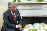 Jordan's King Abdullah II speaks during his meeting with President Joe Biden in the Oval Office of the White House in Washington, Monday, July 19, 2021. (AP Photo/Susan Walsh)