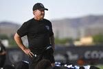 Las Vegas Raiders head coach Jon Gruden looks on during an NFL football practice Wednesday, July 28, 2021, in Henderson. (AP Photo/David Becker)