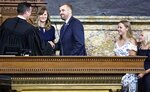 State Rep. Bryan Cutler, R-Lancaster County, is sworn in by Washington County Judge Brandon Neuman, after being elected to serve as Pennsylvania House Speaker, June 22, 2020. With Cutler is his wife Jennifer, and two of his three children, at right, Cheyanne and Drew. He fills a post vacated last week by Mike Turzai, who resigned his House seat to take a job in the private sector. (Dan Gleiter/The Patriot-News via AP)