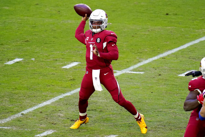 Arizona Cardinals quarterback Kyler Murray (1) throws against the Buffalo Bills during the first half of an NFL football game, Sunday, Nov. 15, 2020, in Glendale, Ariz. (AP Photo/Ross D. Franklin)
