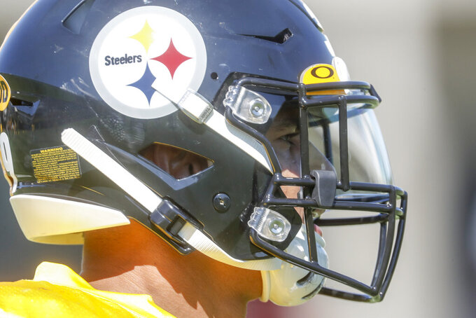 Pittsburgh Steelers newly acquired safety Minkah Fitzpatrick goes from drill to drill during an NFL football practice, Wednesday, Sept. 18, 2019, in Pittsburgh. (AP Photo/Keith Srakocic)