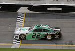 Austin Cindric crosses the finish line to win the NASCAR Xfinity Series auto race at Daytona International Speedway, Saturday, Aug. 15, 2020, in Daytona Beach, Fla. (AP Photo/Terry Renna)
