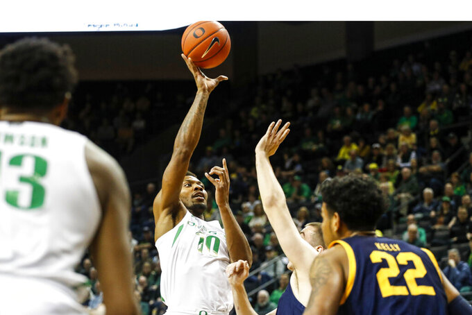 Oregon forward Shakur Juiston (10) shoots against California during the first half of an NCAA college basketball game in Eugene, Ore., Thursday, March 5, 2020. (AP Photo/Thomas Boyd)
