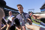 Seattle Mariners general manager Jerry Dipoto talks about the suspension of second baseman Robinson Cano, before the team's baseball game against the Texas Rangers on Tuesday, May 15, 2018, in Seattle. Cano was suspended 80 games for violating baseball's joint drug agreement. (AP Photo/Elaine Thompson)