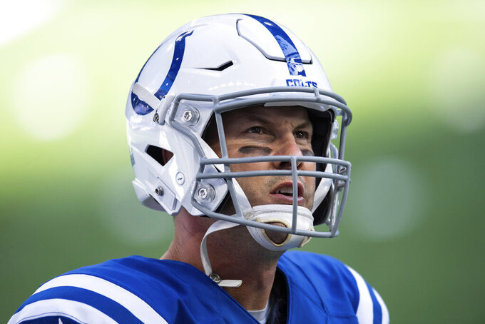 FILE - Indianapolis Colts quarterback Philip Rivers is shown on the sidelines during an NFL football game between the Colts and Baltimore Ravens in Indianapolis, in this Sunday, Nov. 8, 2020, file photo. On Wednesday, Jan. 20, 2021, the 39-year-old Indianapolis Colts quarterback announced his retirement. (AP Photo/Zach Bolinger, File)