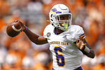Tennessee Tech quarterback Willie Miller (6) throws to a receiver during the first half of an NCAA college football game against Tennessee, Saturday, Sept. 18, 2021, in Knoxville, Tenn. (AP Photo/Wade Payne)
