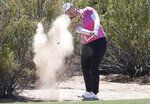 Angel Yin hits from the desert on the first fairway during the third round of the Founders Cup LPGA golf tournament, Saturday, March 23, 2019, in Phoenix. (AP Photo/Matt York)