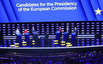 Candidates to the presidency of the Commission participate in a debate at the European Parliament in Brussels, Wednesday, May 15, 2019. Leading candidates in the EU elections are facing off Wednesday in a final televised debate before millions of people take part in the world's biggest transnational polls on May 23-26. (AP Photo/Francisco Seco)