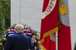 President Donald Trump places a wreath at the Tomb of the Unknown Soldier in Arlington National Cemetery, in honor of Memorial Day, Monday, May 25, 2020, in Arlington, Va. (AP Photo/Alex Brandon)