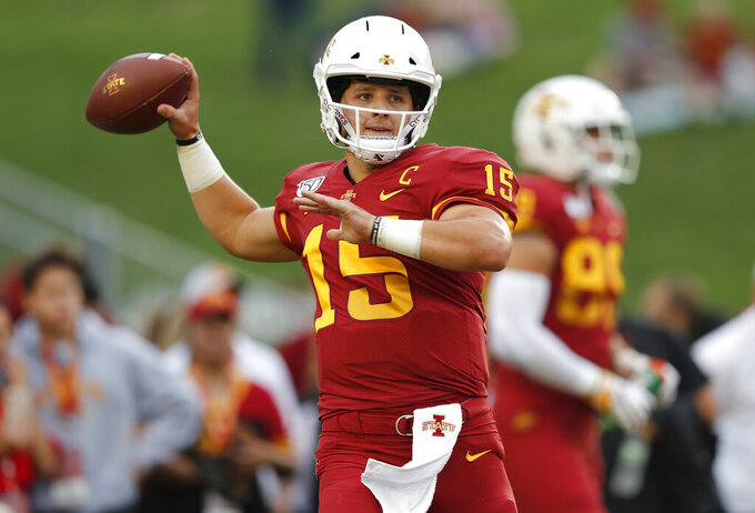RETRANSMISSION TO CORRECT DATE - Iowa State quarterback Brock Purdy warms up before an NCAA college football game against Louisiana-Monroe, Saturday, Sept. 21, 2019 in Ames, Iowa. (AP Photo/Matthew Putney)