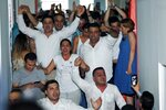 Supporters of Ekrem Imamoglu candidate of the secular opposition Republican People's Party celebrate at CHP offices in Istanbul, Sunday, June 23, 2019. Turkish government's candidate for Istanbul mayor concedes defeat after first results from rerun election are reported. (AP Photo/Lefteris Pitarakis)