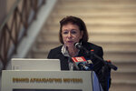 Greek Culture Minister Lina Mendoni speaks at the National Archaeological Museum in Athens on Wednesday, Nov. 13, 2019. Greece's Culture Ministry said Wednesday that an ancient vase which was one of the awards presented to Spyros Louis, the Greek winner of the Marathon in the 1896 first modern Olympic Games, has been returned to Athens by the University of Muenster in Germany where it had ended up.(AP Photo/Petros Giannakouris)