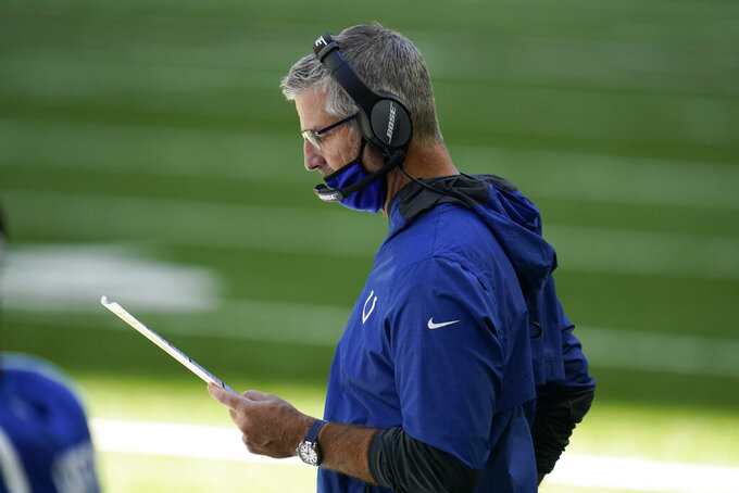 Indianapolis Colts head coach Frank Reich looks at his play chart during the second half of an NFL football game against the Minnesota Vikings, Sunday, Sept. 20, 2020, in Indianapolis. (AP Photo/Michael Conroy)