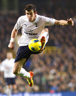FILE - In this Monday, Oct. 23, 2011 file photo Tottenham Hotspur's Gareth Bale controls the ball during their English Premier League soccer match against Aston Villa at the White Hart Lane stadium in London. (AP Photo/Bogdan Maran, File)