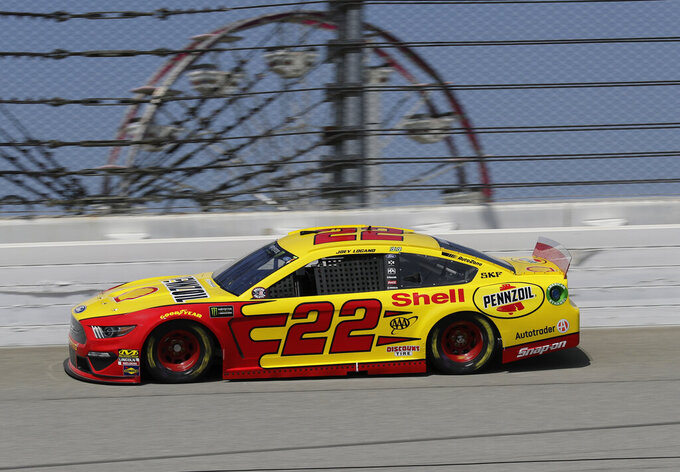 Joey Logano drives during a practice for the NASCAR Sprint Cup Series auto race at Chicagoland Speedway in Joliet, Ill., Saturday, June 29, 2018. (AP Photo/Nam Y. Huh)
