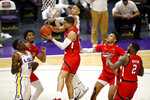 LSU forward Trendon Watford (2) reaches for the ball against Texas Tech guard Kevin McCullar (15) in the second half of an NCAA college basketball game in Baton Rouge, Saturday, Jan. 30, 2021. Texas Tech won 76-71. (AP Photo/Tyler Kaufman)