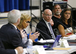 Committee chair Jim Frooman, third right, listens as Randy Smith makes a statement during a meeting of the school board branding committee at a middle school in Anderson Township, Ohio, Tuesday, June 12, 2018. A Cincinnati-area high school whose teams have been called the Redskins for over 80 years will keep that mascot for now after a committee heard debate and decided against recommending any change. It's a recurring fight at Anderson High School. (Sam Greene/The Cincinnati Enquirer via AP)