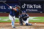 Tampa Bay Rays' Ji-Man Choi hits an RBI single during the seventh inning of the team's baseball game against the New York Yankees on Wednesday, June 2, 2021, in New York. (AP Photo/Frank Franklin II)