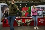 In this Feb. 6, 2019 photo, Diosdado Cabello, president of the ruling party-dominated constitutional assembly, center, dances as his daughter Daniella, right, and his wife Marleny, left, sing and dance during his weekly, live TV program coined: