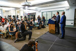Gov. Andrew Cuomo, second right, and Brooklyn Borough President and New York City mayoral candidate Eric Adams give a news conference at Lenox Road Baptist Church in the Brooklyn borough of New York on Wednesday, July 14, 2021. (AP Photo/Eduardo Munoz Alvarez)