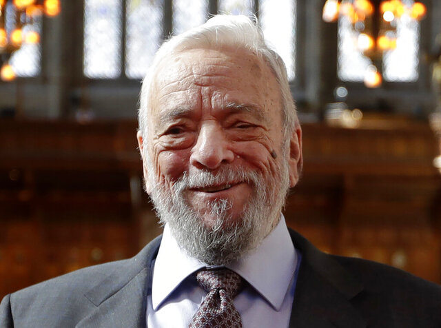 """FILE - This Sept. 27, 2018 file photo shows composer and lyricist, Stephen Sondheim after being awarded the Freedom of the City of London at a ceremony at the Guildhall in London. Broadway stars will pay a 90th birthday tribute to Sondheim on the free virtual concert """"Take Me To The World,"""" set to air live on April 26. (AP Photo/Kirsty Wigglesworth, File)"""