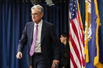 Federal Reserve Chairman Jerome Powell walks to the podium during a news conference following a two-day Federal Open Market Committee meeting in Washington, Wednesday, June 19, 2019. (AP Photo/Manuel Balce Ceneta)