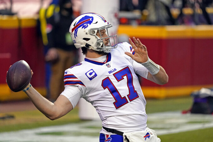 Buffalo Bills quarterback Josh Allen warms up before the AFC championship NFL football game against the Kansas City Chiefs, Sunday, Jan. 24, 2021, in Kansas City, Mo. (AP Photo/Jeff Roberson)